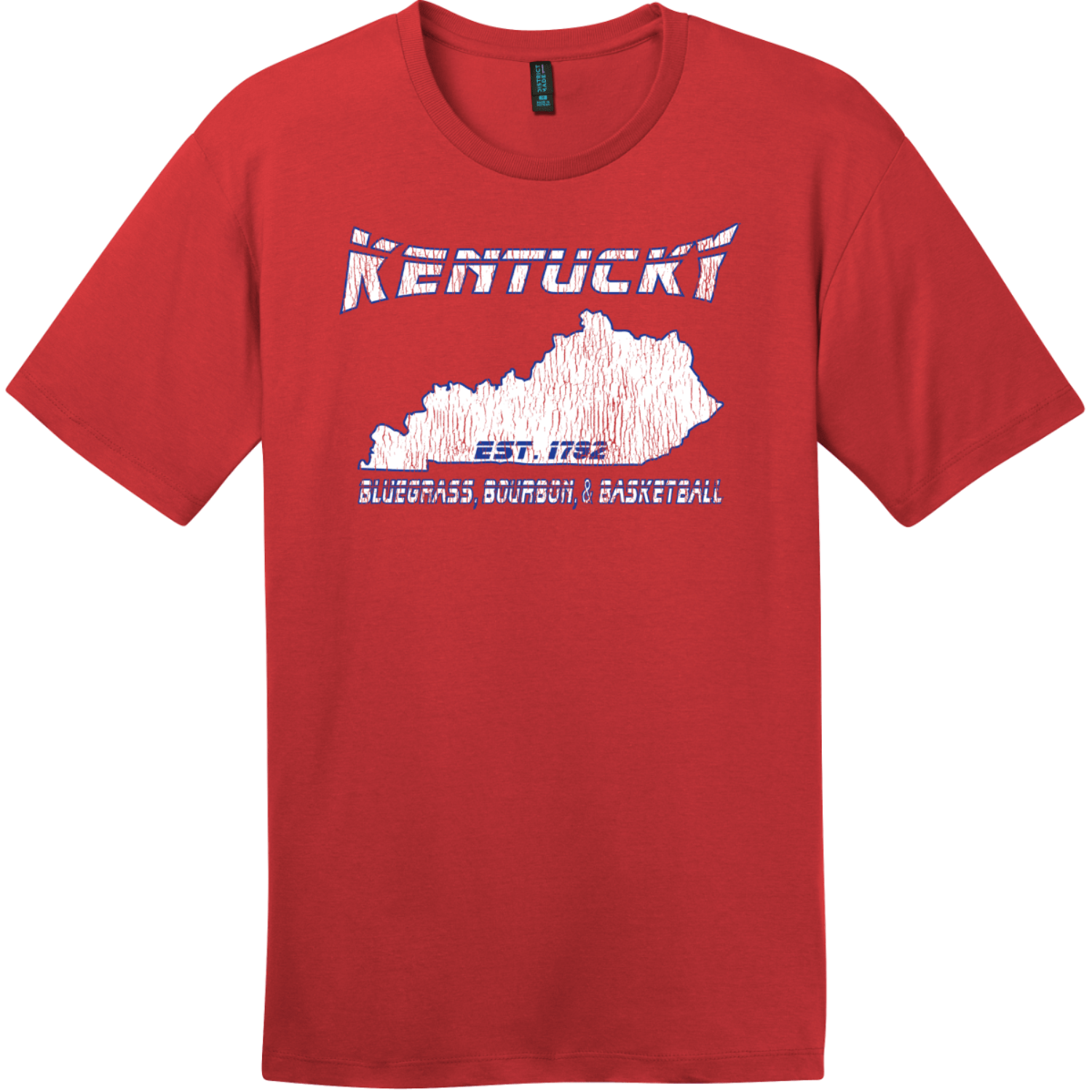 Kentucky Bluegrass Bourbon and Basketball Tee Classic Red District Perfect Weight Tee DT104