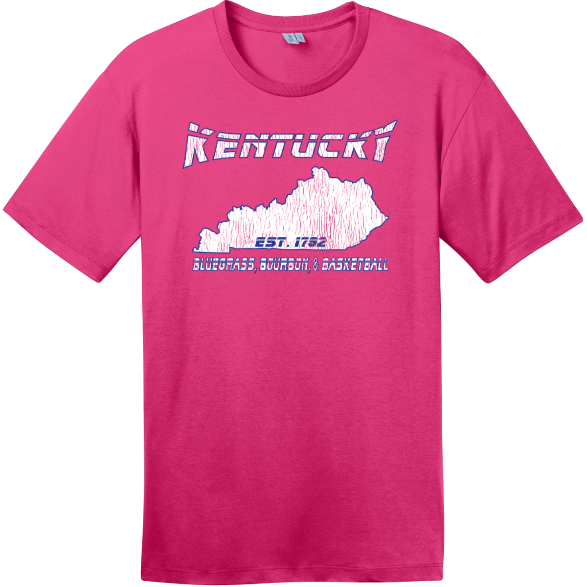 Kentucky Bluegrass Bourbon and Basketball Tee Dark Fuchsia District Perfect Weight Tee DT104
