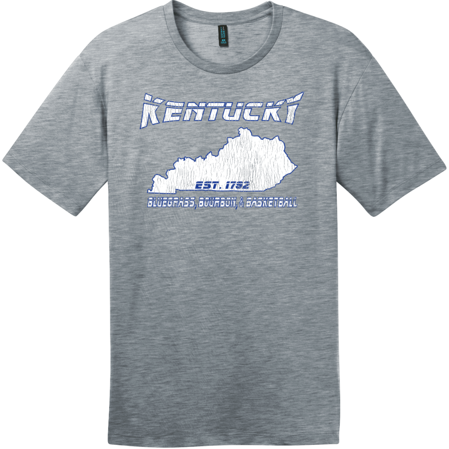 Kentucky Bluegrass Bourbon and Basketball Tee Heathered Steel District Perfect Weight Tee DT104