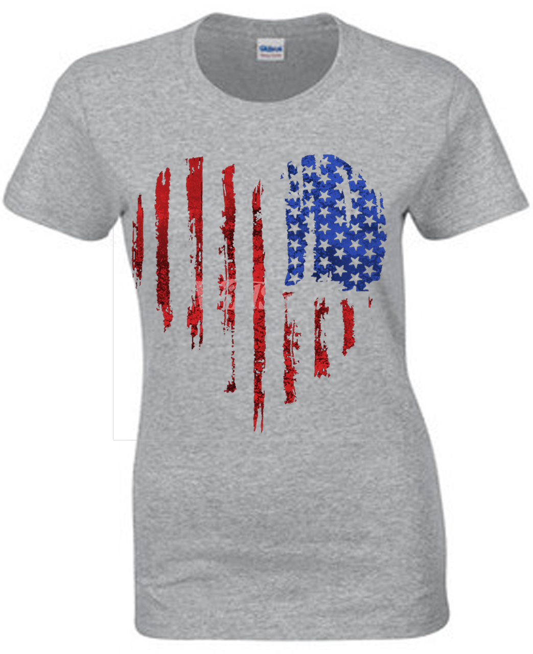 American Flag Faded Heart T-Shirt