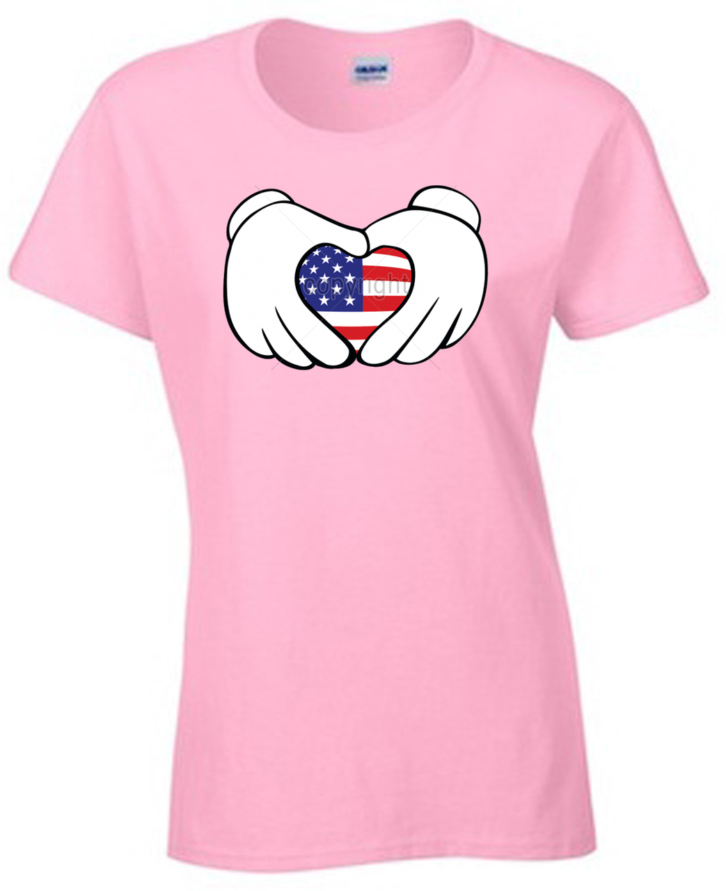 American Flag Cartoon Hands Heart Women's T-Shirt
