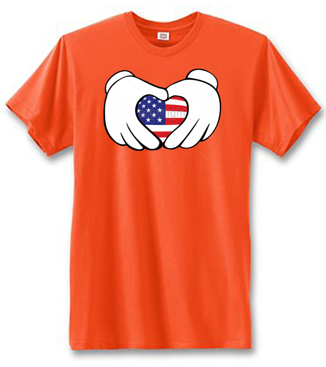 American Flag Cartoon Hands Heart Men's Short Sleeve T-Shirt