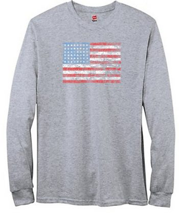 American Flag Distressed Long Sleeve T-Shirt
