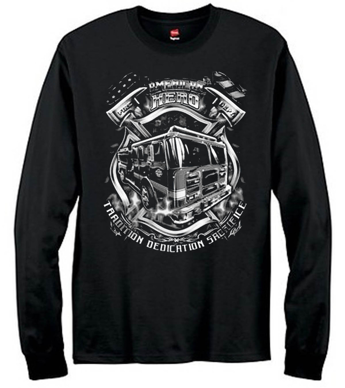 American Hero Fire Fighter Men's Long Sleeve T-Shirt