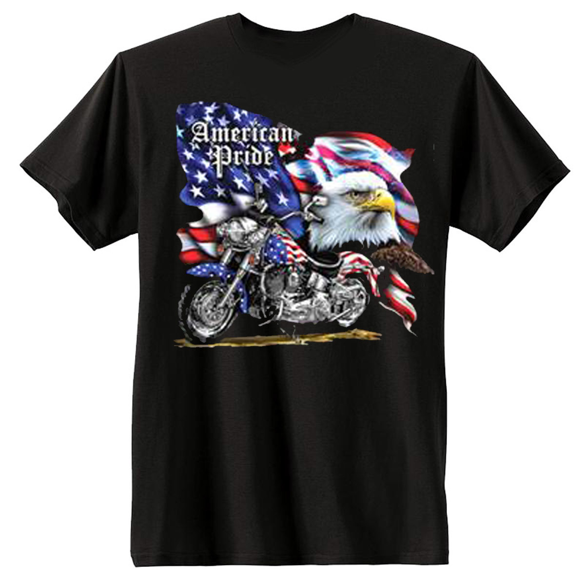 American Pride Motorcycle Flag Men's Short Sleeve T-Shirt