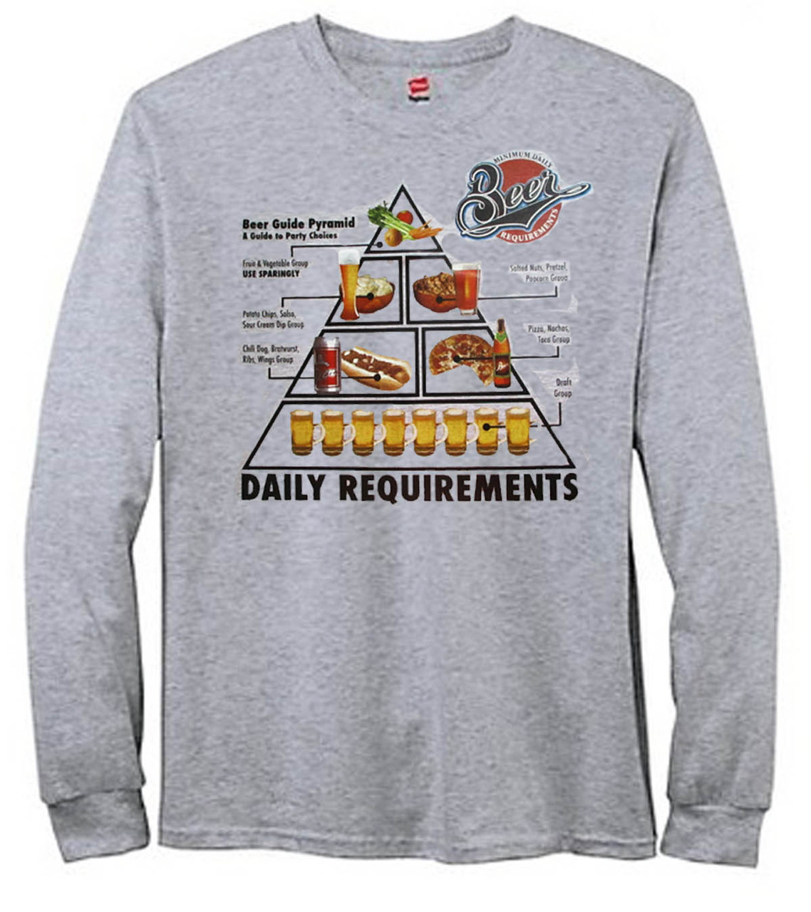 Minimum Daily Beer Requirements Men's Long Sleeve T-Shirt
