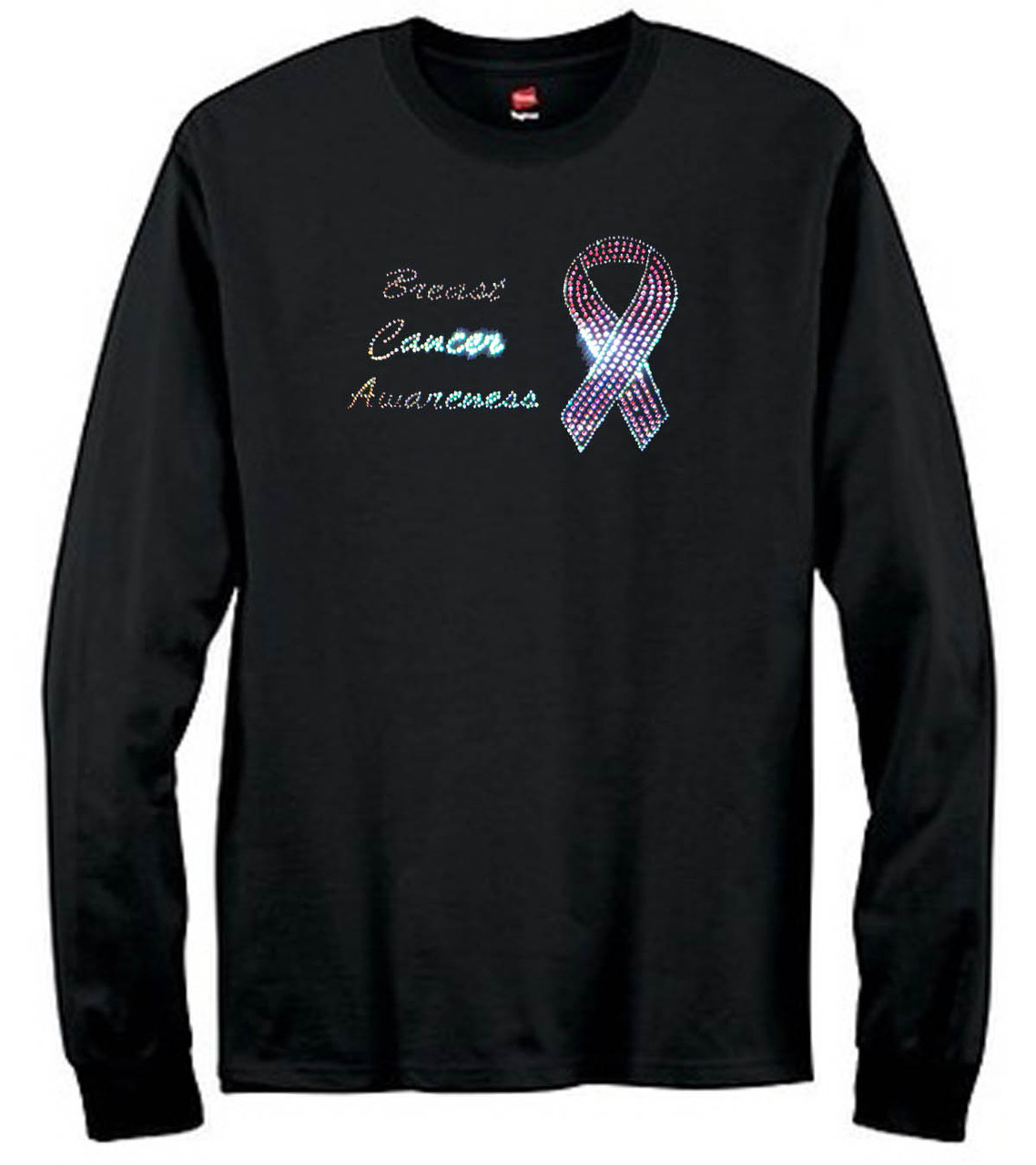 Breast Cancer Awareness Ribbon Rhinestone T-Shirt