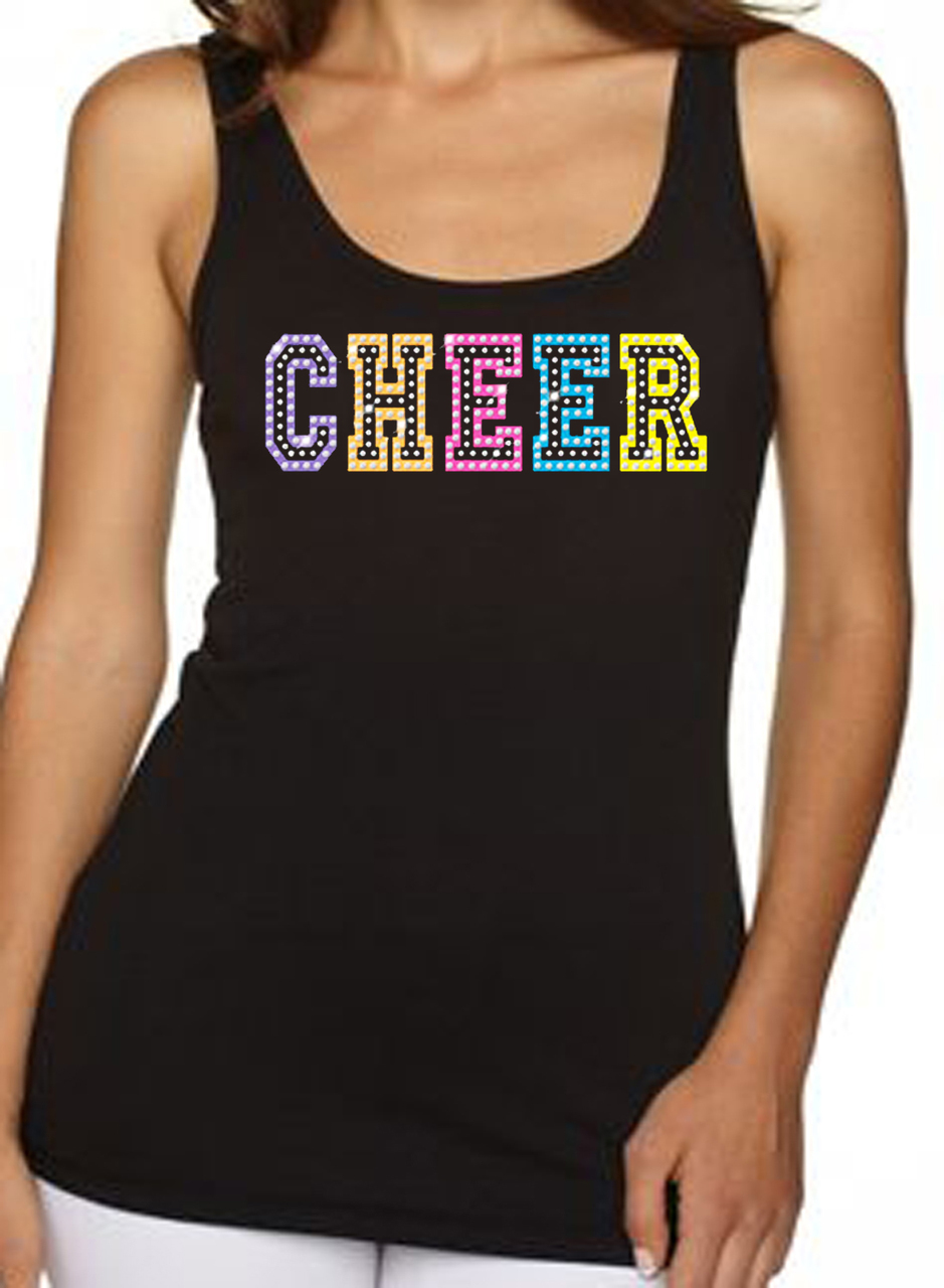 Cheer Neon Rhinestone Women's Tank Top