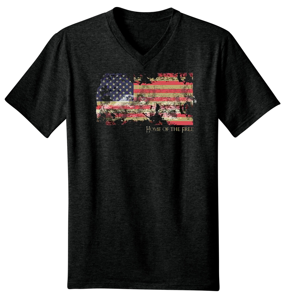 Faded American Flag Home Of The Free V-Neck T-Shirt