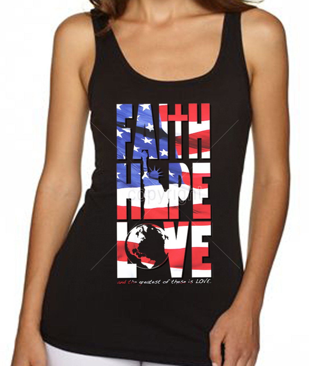 Faith Hope And Love American Flag Women's Tank Top