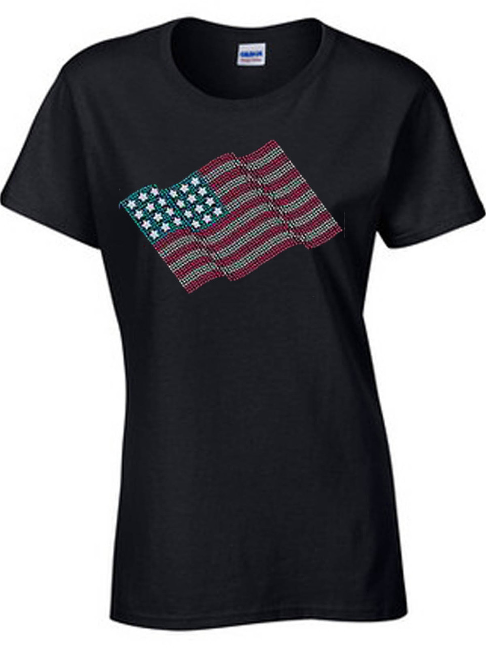 Glitter American Flag Women's Short Sleeve T-Shirt