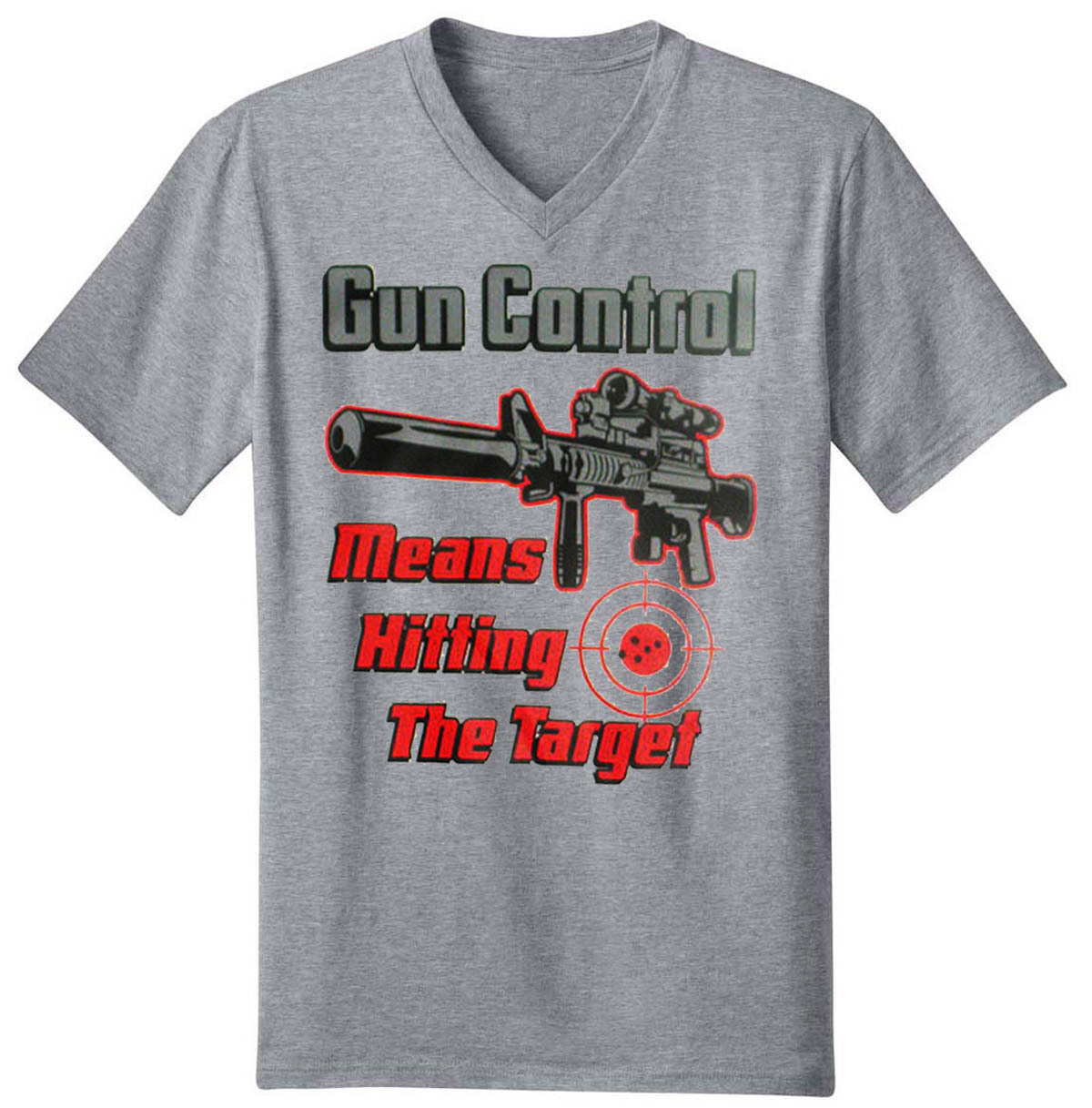 Gun Control Means Hitting The Target Men's V-Neck T-Shirt