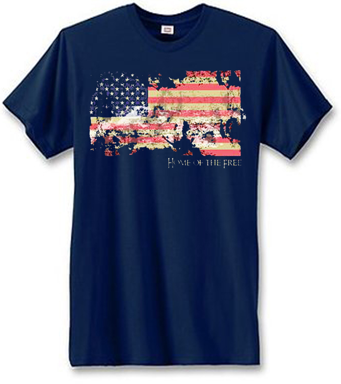 Faded American Flag Home Of The Free Men's Short Sleeve T-Shirt