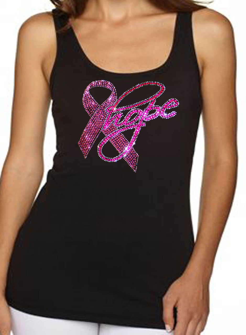 Hope Love Faith Breast Cancer Awareness Rhinestone Women's Tank Top