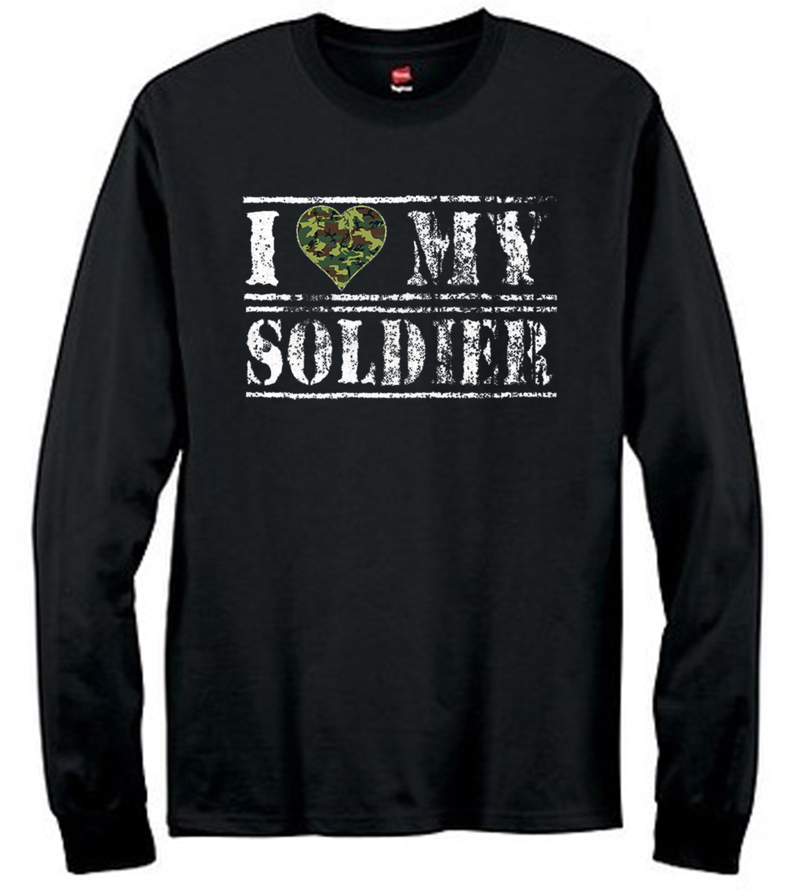 I Love My Soldier Camouflage Heart Men's Long Sleeve T-Shirt