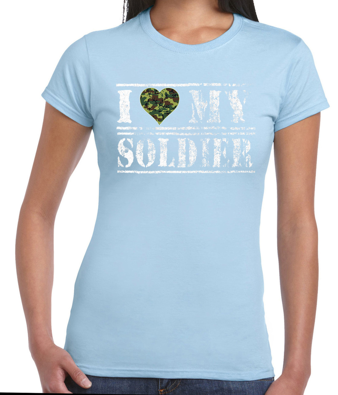 I Love My Soldier Camouflage Heart T-Shirt