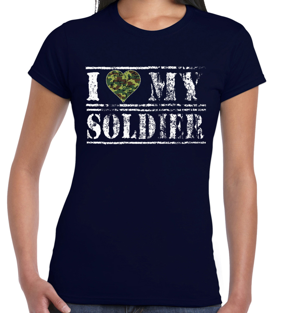 I Love My Soldier Camouflage Heart Women's Short Sleeve T-Shirt