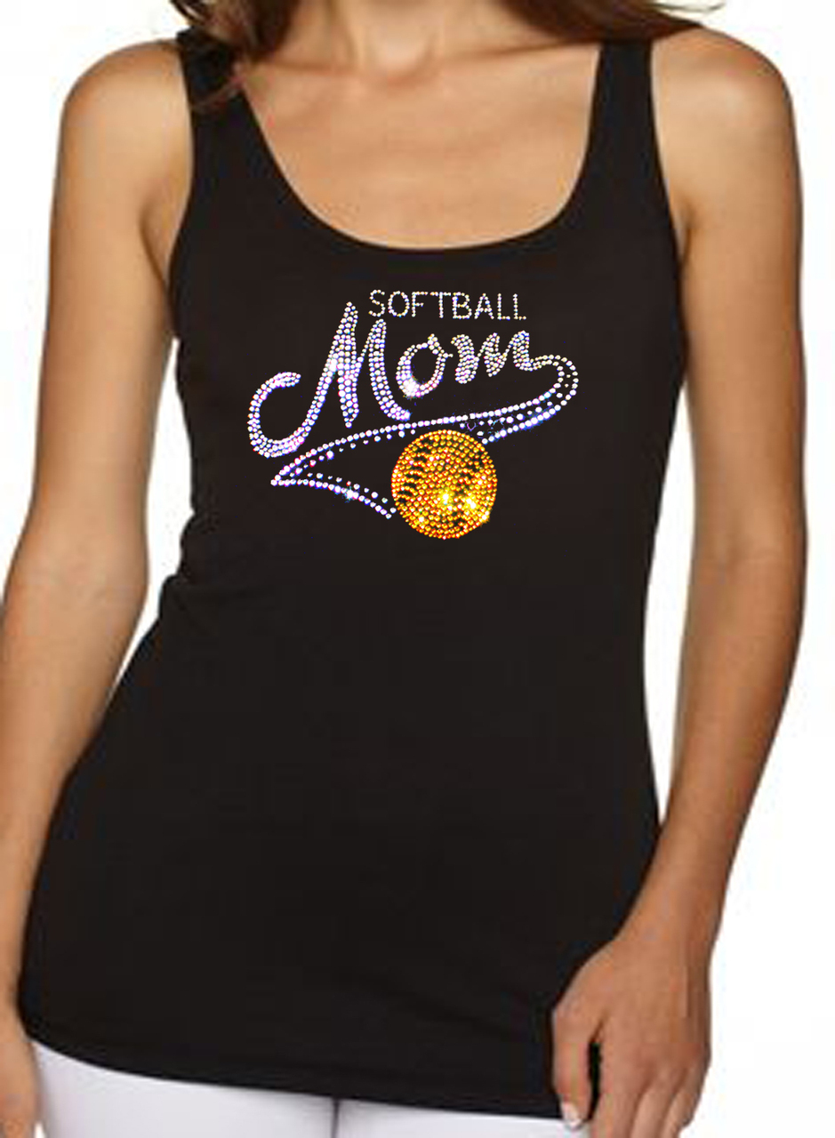 Softball Mom Rhinestone Ladies Women's Tank Top