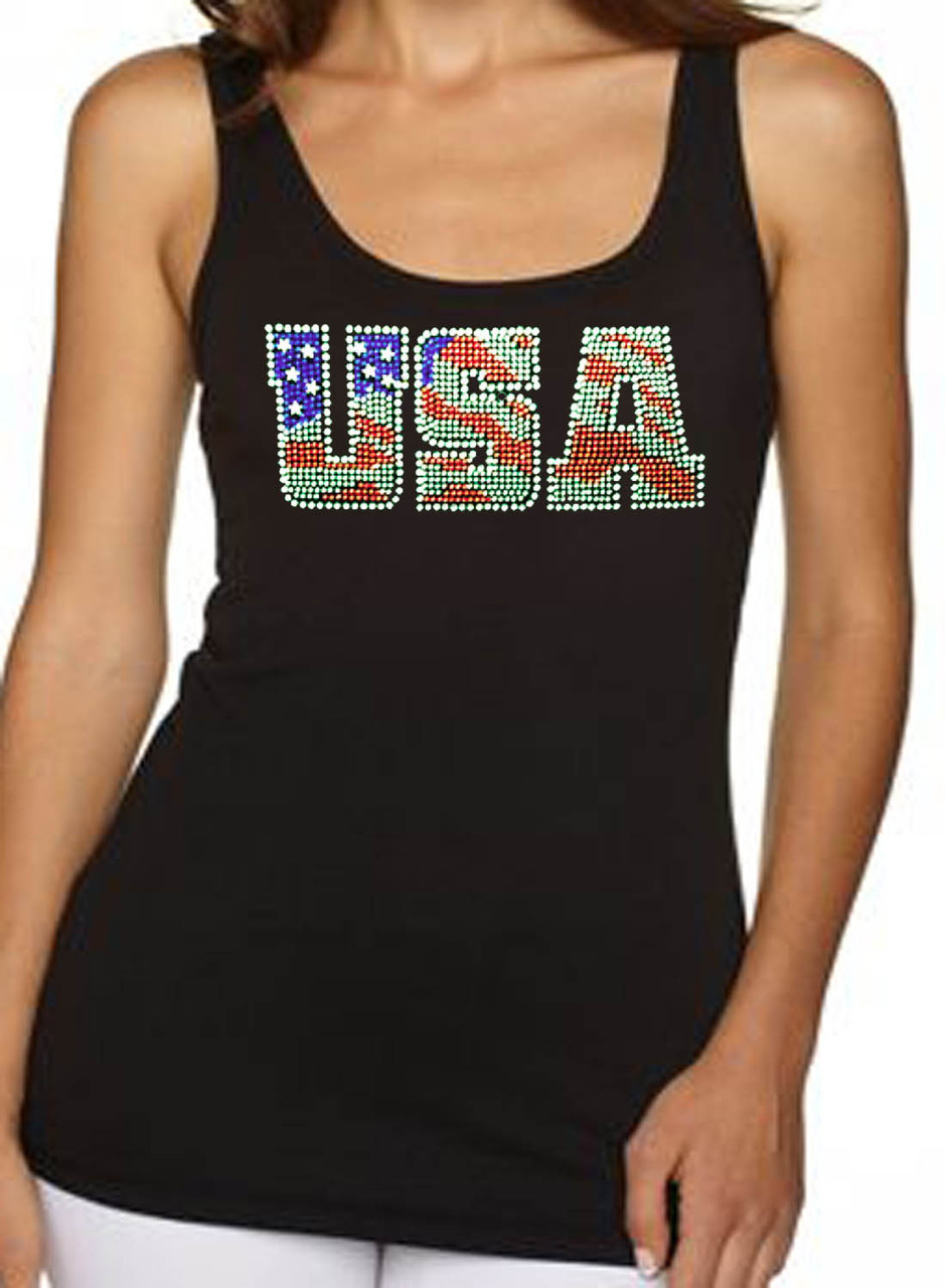 USA American Flag Rhinestone Women's Tank Top