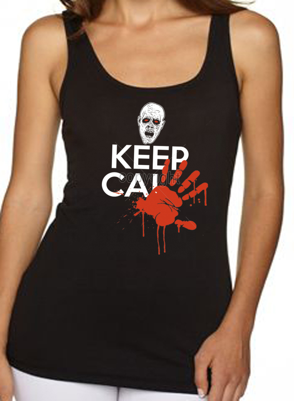 Keep Calm Bloody Hand Zombies Women's Tank Top