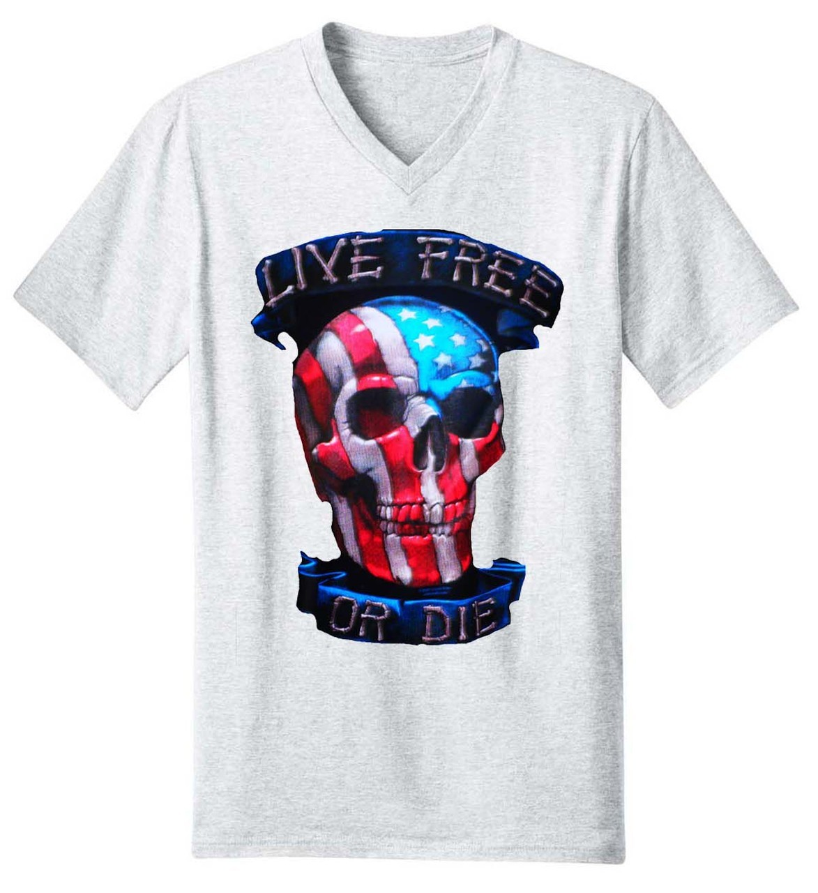 Live Free or Die Skull V-Neck T-Shirt