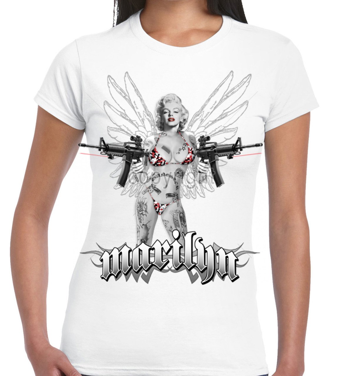 Marilyn Monroe Laser Assault Rifle Women's T-Shirt