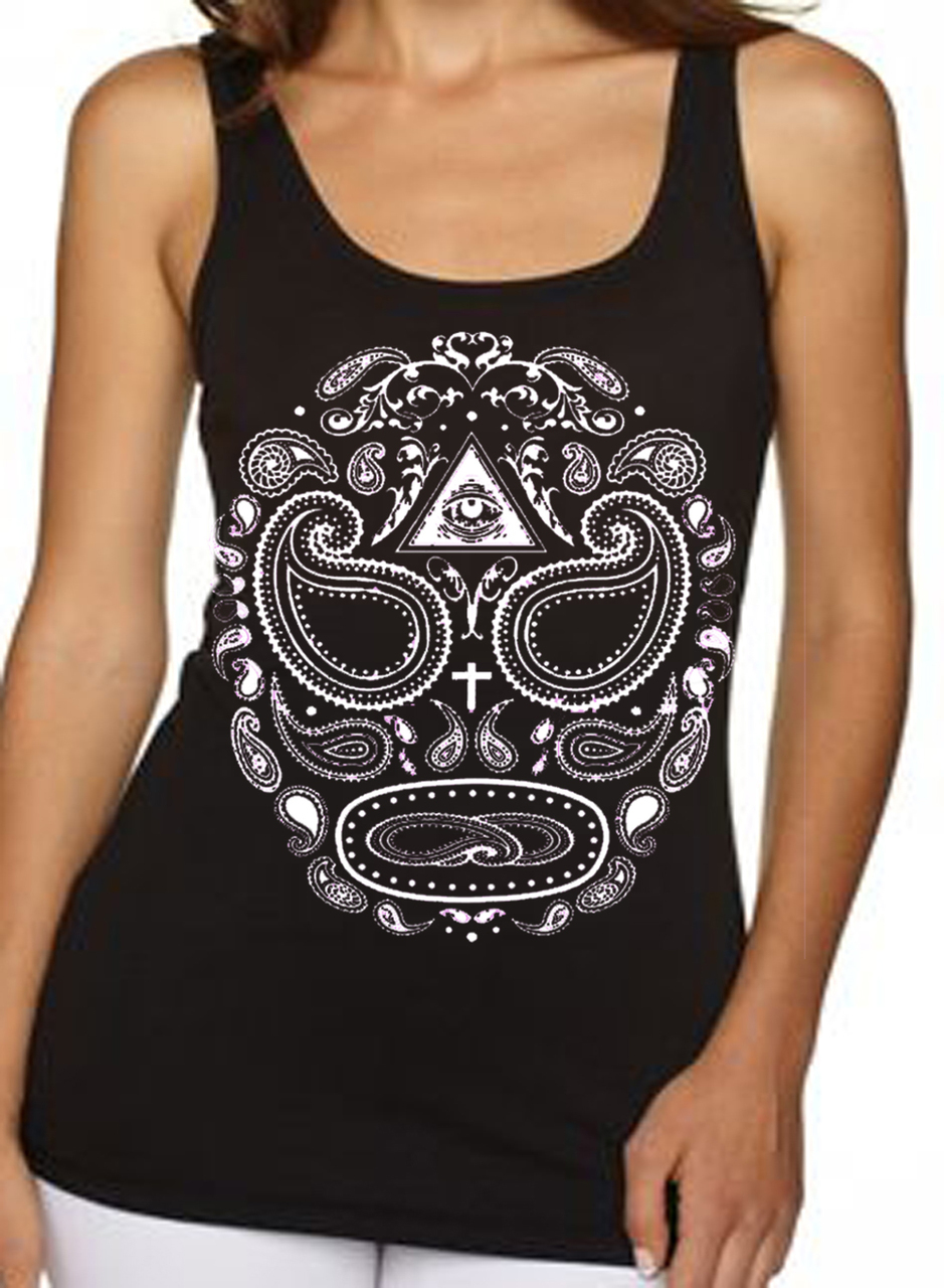 Paisley Day Of The Dead Skull Women's Tank Top
