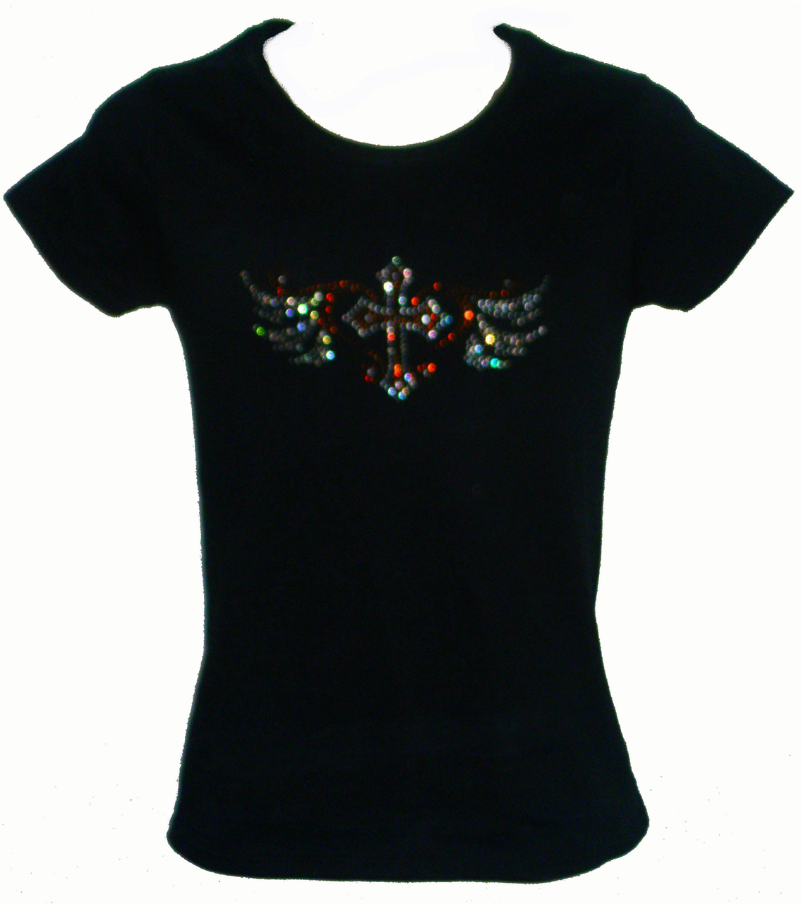 Rhinestone Cross With Wings T-Shirt
