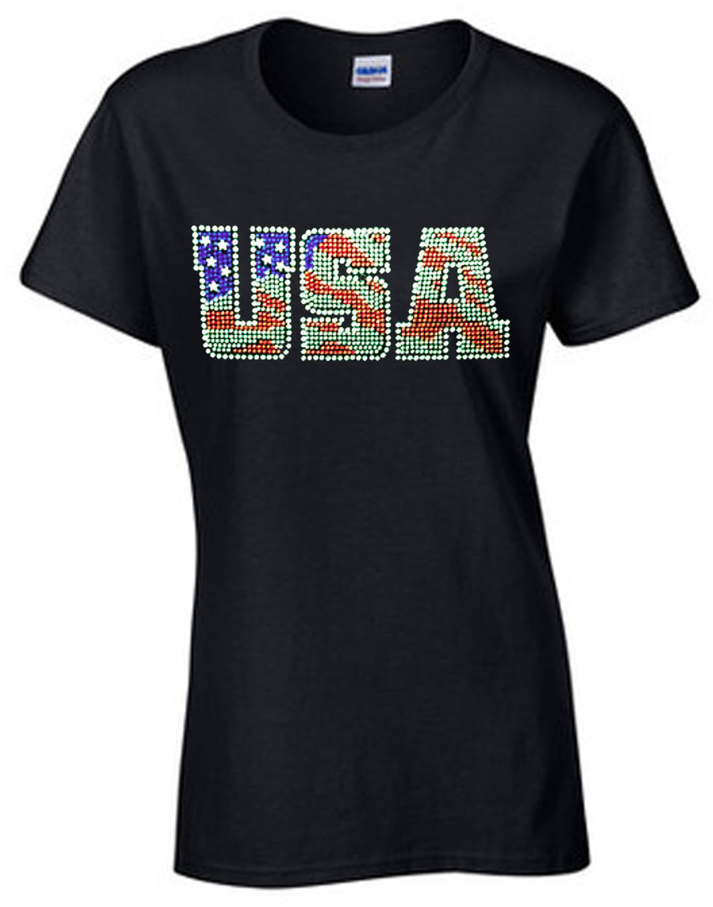 USA American Flag Rhinestone Women's Short Sleeve T-Shirt