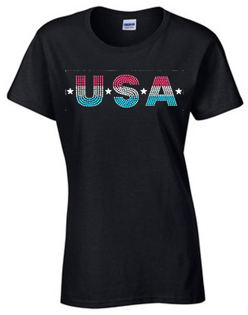 USA Glitter Women's Short Sleeve T-Shirt