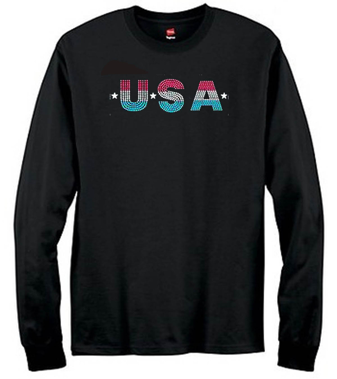 USA Glitter Long Sleeve T-Shirt