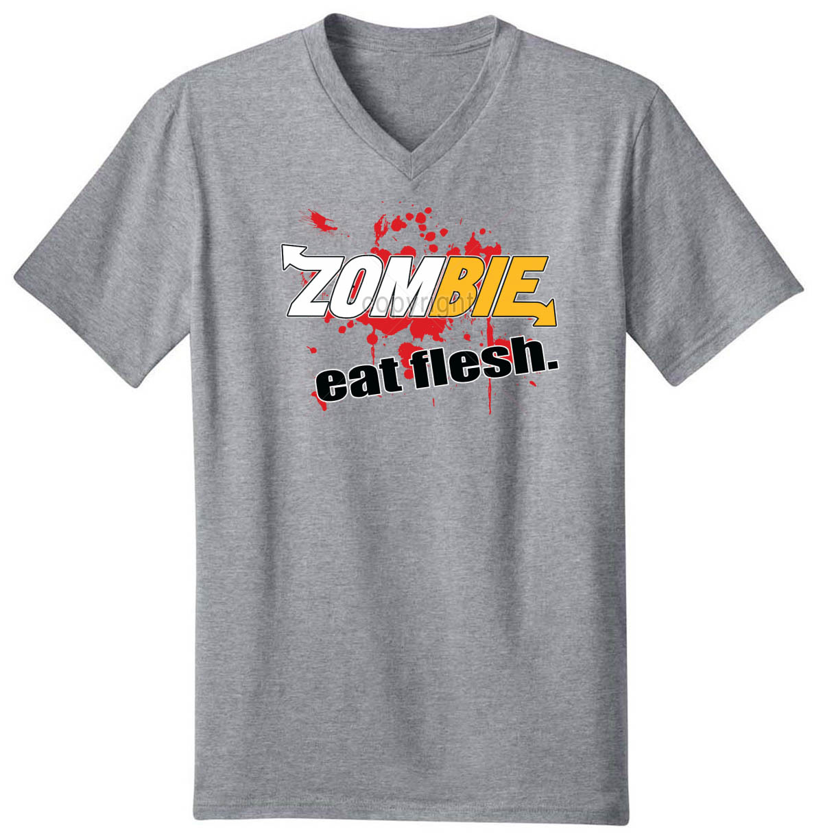 Zombies Eat Flesh Men's V-Neck T-Shirt