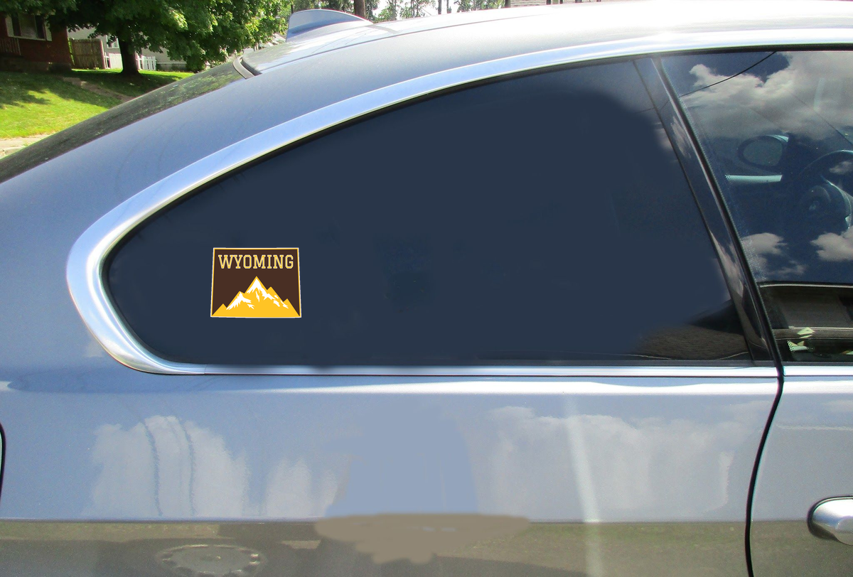 Wyoming Mountains State Shaped Sticker Car Sticker