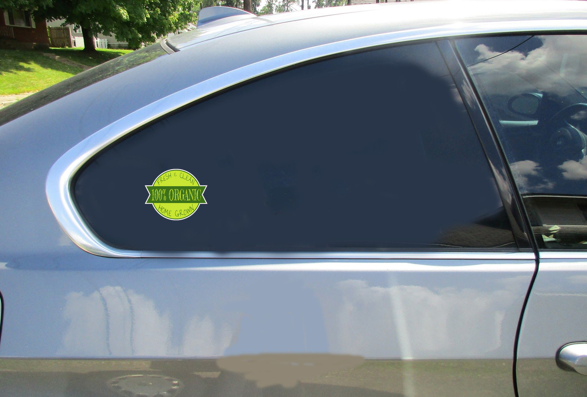 100% Organic Home Grown Sticker Car Sticker
