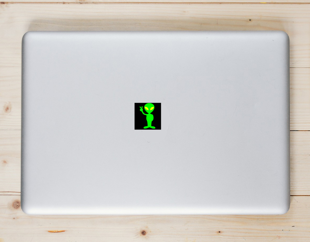 Alien Peace Sticker Laptop Sticker