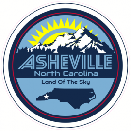 Asheville North Carolina Circle Sticker | U.S. Custom Stickers
