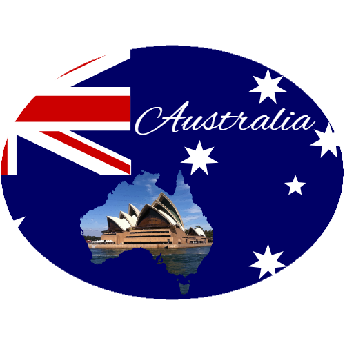 Australia Flag Sydney Opera House Oval Sticker | U.S. Custom Stickers