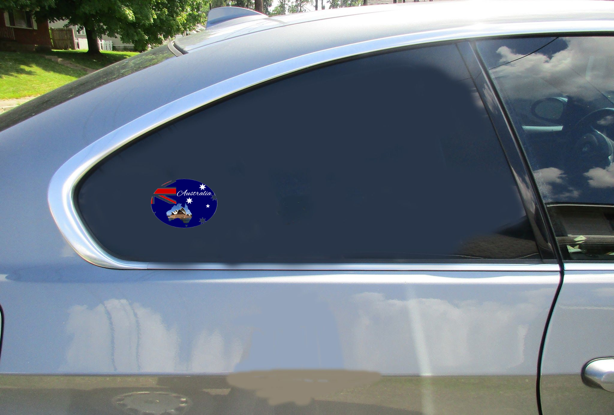 Australia Flag Sydney Opera House Oval Sticker Car Sticker