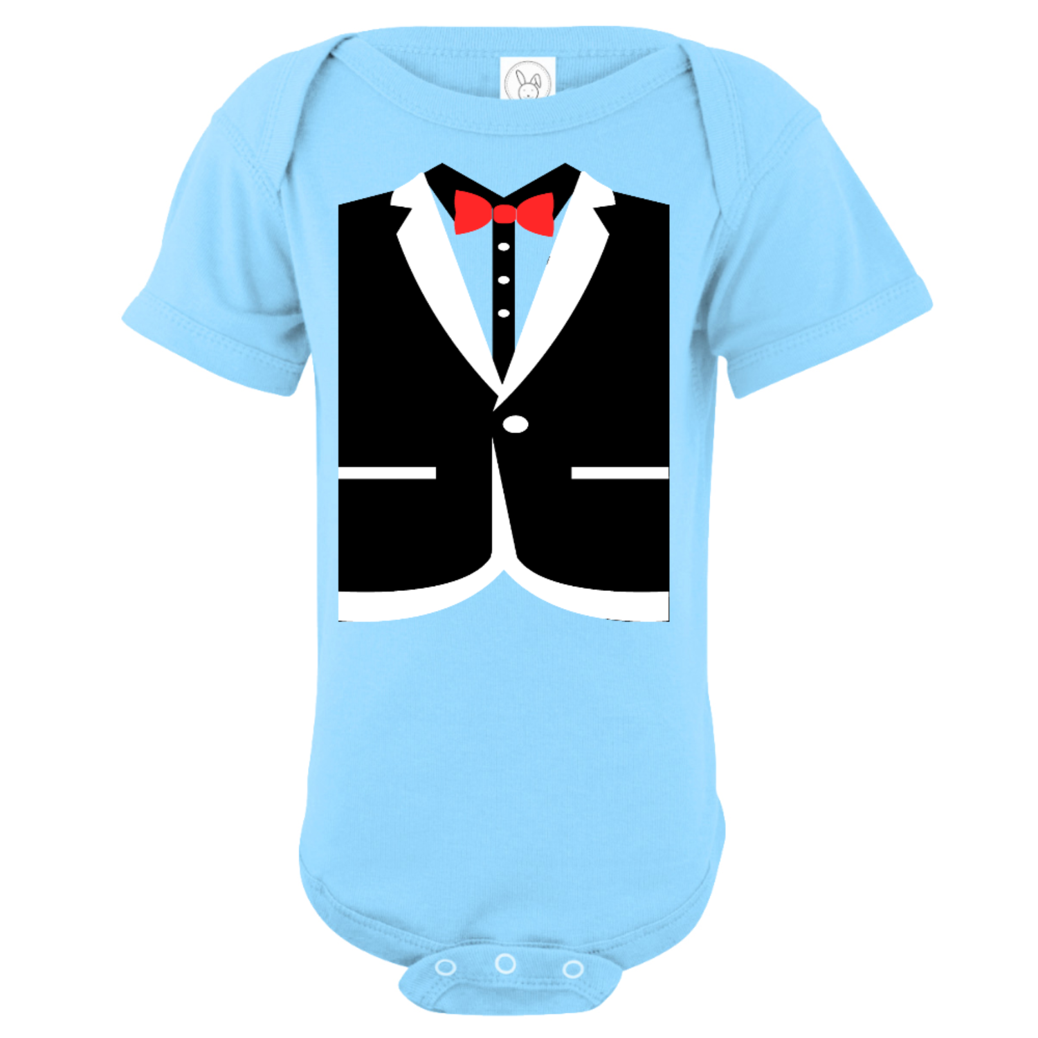 Black Tuxedo Baby Bodysuit Light Blue
