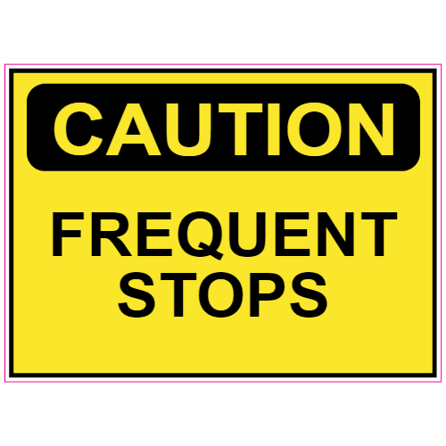 Caution Frequent Stops Sticker | U.S. Custom Stickers