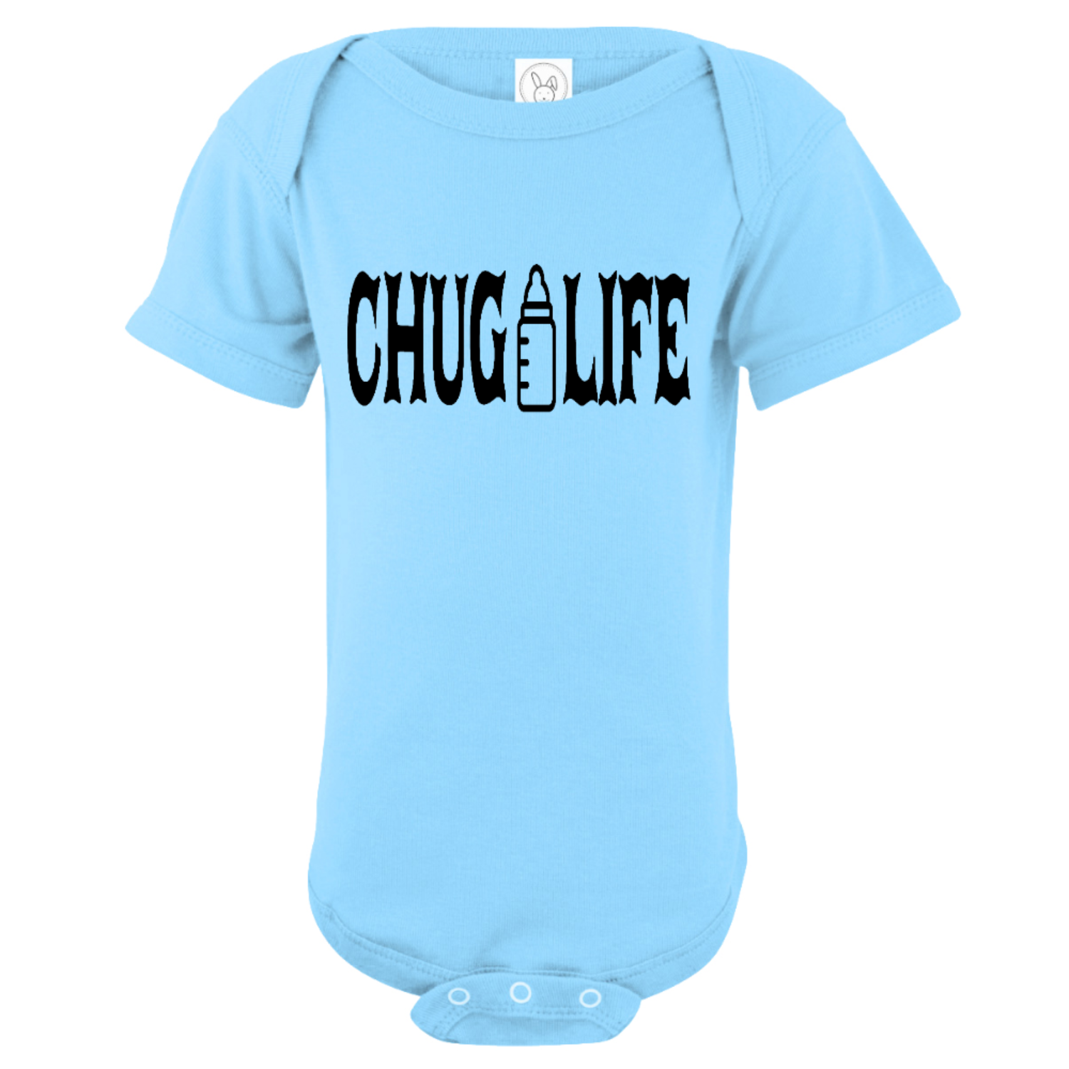 Chug Life Bottle Baby Bodysuit Light Blue