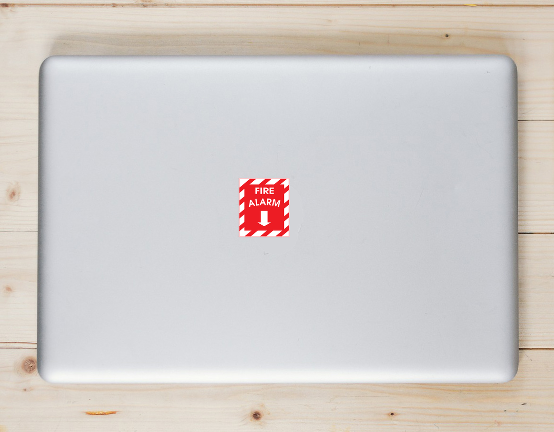 Fire Alarm Down Arrow Sticker Laptop Sticker