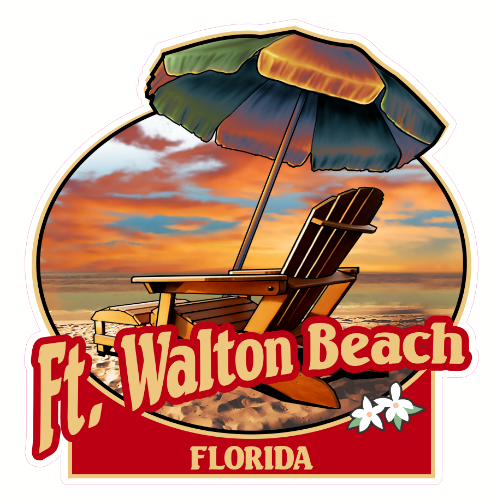 Fort Walton Beach Florida Beach Sticker | U.S. Custom Stickers