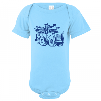 Garbage Truck Baby Bodysuit Light Blue