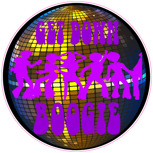 Get Down Boogie Disco Ball Sticker | U.S. Custom Stickers