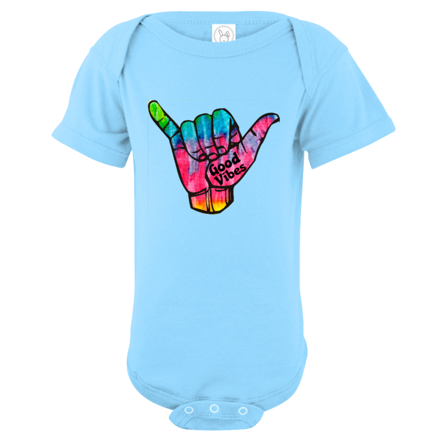 Good Vibes Tie Dye Shaka Baby Bodysuit Light Blue