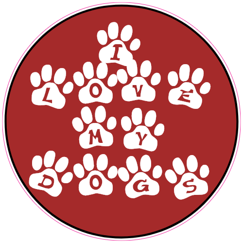 I Love My Dogs Paw Circle Sticker | U.S. Custom Stickers