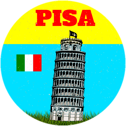 Leaning Tower Of Pisa Circle Sticker | U.S. Custom Stickers