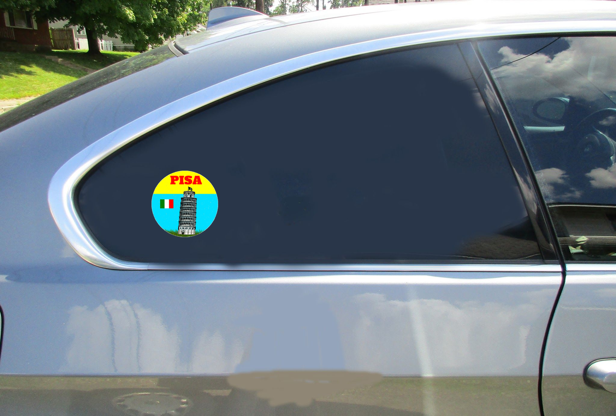 Leaning Tower Of Pisa Circle Sticker Car Sticker