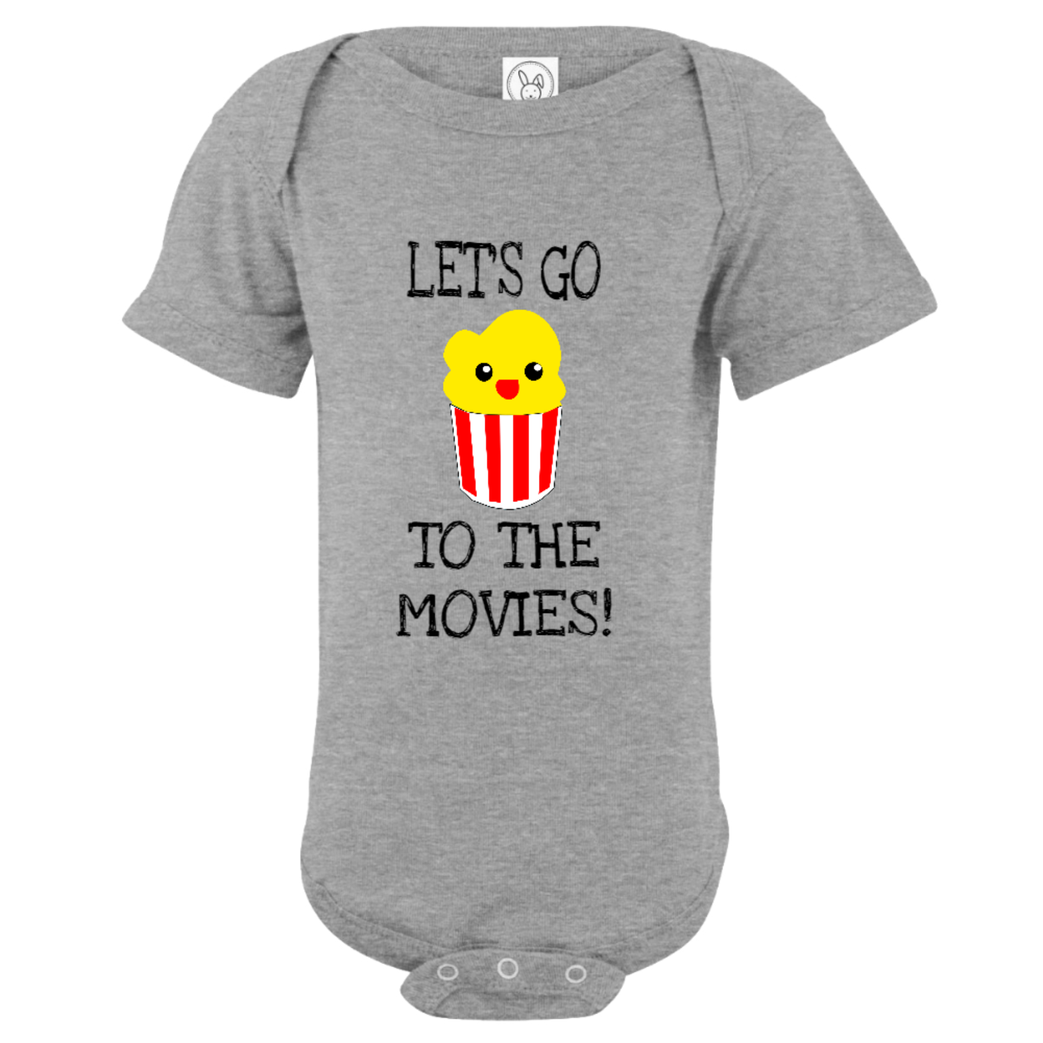 Let's Go To The Movies Baby Bodysuit Gray
